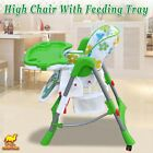 Folding Convertible Child Booster Highchair Baby Feeding Tray Seat 2 Wheel Locks