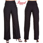 Banned Apparel Fantasy Island 50s Wide Leg Jacquard Black Trousers With Hearts