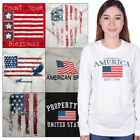 Long Sleeved USA Graphic T For Mens Womens Tees Shirt 4th Of July Gift Tshirts image
