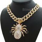 "Hip Hop Gold PT Large Spider Pendant  18"" Full Iced Cuban Choker Chain Necklace"