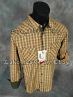 Mens PLATINI Western Style Button Shirt Brown Shades Plaid w Pockets