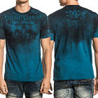 Xtreme Couture Fighting Lions Gate Fleur Angel Wings Mens T-Shirt Dark Teal Blue