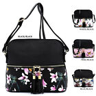 Flower Butterfly Colorblock Tassel Zip Pocket Dome Crossbody Bag Satchel Purse image