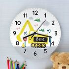 Personalised Children's Digger Wooden Clock Gift. Birthday.