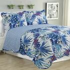 Melissa - 3 Piece Quilt bedspread Set queen and king size - Blue Floral image