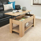 Wooden coffee table with storage lift top up drawer Desk Living Room White Black