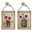 Rustic Western Pictures Cowboy Boots Whiskey Barrel Roses Wall Hangings Plaques