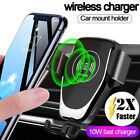 US FDGAO Qi Wireless Charger 10W Fast Charging Car Air Vent Bracket Mount Holder