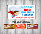 Personalised Chocolate Bar - Happy Fathers Day - I love Dad - Daddy - Legend