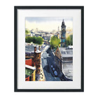 Glasgow Watercolor Painting Print Landscape, Cityscape by Sarfraz Musawir