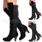 WOMENS LADIES HIGH HEEL ZIP WORK CASUAL OVER THE KNEE HIGH RIDING BOOTS SIZE