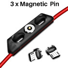 3 Pack Magnetic Micro USB Cable 2A Fast Charging Cord Android Phone Charger Lot