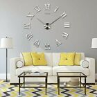 Modern Large 3D Wall Clock Roman Numerals Mirror Stickers Decal Home Decor US