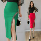 Sexy Women High Waist Split Bodycon Business Pencil Midi Skirt Dresses Plus Size