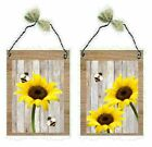 💗 Sunflower Pictures Bathroom Yellow Flowers & Bees Floral Wall Hanging Plaques