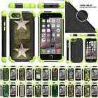 For Apple iPhone SE 2 / XE Dual Layer Gel Bumper Kickstand Defender Green Case
