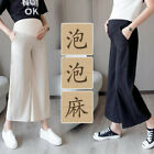 Summer Maternity Pregnancy Belly Flared Pants Cropped Trousers Casual Over Bump