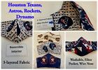 Houston Texans, Rockets, Astros, and Dynamo 3-layered Fabric Mask, Reversible $12.99 USD on eBay