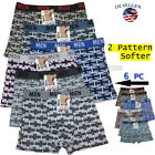 Lot 6 Pack Mens Cotton Boxer Briefs Underwear Compression Stretch Sport
