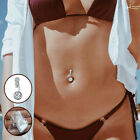Belly Button Rings Crystal Body Piercing Navel Ring Bar Barbell Jewelry Silver image