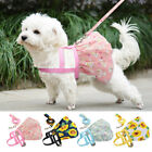 Cute Pink Dog Dress Harness Leash Set Mesh Puppy Vest Skirt with Flower Pattern