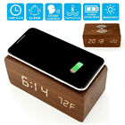 Digital LED Desk Alarm Clock Voice Control Wooden Thermometer Qi Wireless Charge