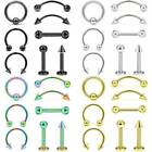 Mixed 8pcs 16g Surgical Steel Helix Piercing Jewelry Ear Eyebrow Nose Lip Rings