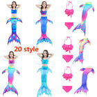 Kids Girls Mermaid Tail Swimmable Swimming Swimwear Costume Outfits Set Monofin