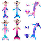 Kids Girls 3pcs Mermaid Tail Swimmable MonoFin Swimming Bikini Swimwear Sets