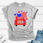 USA American Flag Truck 4th of July Gray Short Sleeve Unisex T-shirt image