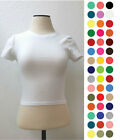 Women Basic Casual Stretch Crew Neck short Sleeve Cotton Crop Top Shirt RT32675