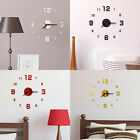 Modern Large Wall Clock 3D Mirror Sticker Unique Big Number Watch DIY Decor EB