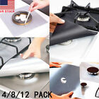 4/8/12PCS Reusable Gas Range Stove Top Burner Protector Liner Cover For Cleaning