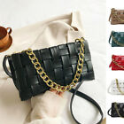 2 Way Woven Faux Leather Chunky Chain Shoulder Bag Crossbody Purse Clutch Small