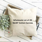 18x18 Wholesale Blank 10 oz. Cotton Canvas Throw Pillow Cover - Lot of 20 Blanks