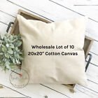 20x20 Wholesale Blank 10 oz. Cotton Canvas Throw Pillow Cover - Lot of 10 Blanks