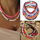 Fashion Women Polymer Clay Beaded Chain Necklace Choker Jewelry Charm Gift