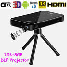4K Mini Smart DLP LED WIFI Projector 8GB Home Theater Android6.0 Bluetooth HDMI