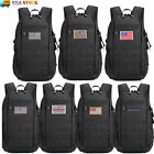 Military Tactical Molle Backpack Waterproof Army Assault Pack Rucksack W/us Flag
