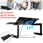 360° Adjustable Foldable Laptop PC Desk Table Stand Bed Tray with Cooling Fan