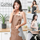 Waterproof Woman Plaid Apron Pocket Oil Resistant Home Kitchen Cooking US
