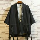 Men Japanese Embroidery Kimono Jacket Coat Harajuku Cardigan Cargo Retro Casual