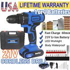 21V 2Speed Electric Power Cordless Combi Drill/Driver with Bits Set
