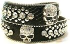 "WOMEN'S BLACK SKULL RHINESTONE WESTERN MOTORCYCLE BLING LEATHER BELT 1 1/2"" WIDE"