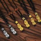 Feng Shui Gold Obsidian Pixiu Necklace Wealth Good Luck Dragon Pendant Jewelry