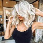 Middle-Short White Gradient Wig Natural Curly Hair Women Blonde Curly Synthetic