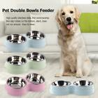 Dog Double Bowl Puppy Food Water Feeder Stainless Steel Pets Drinking Dish Tool