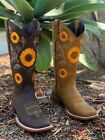 Kyпить WOMEN'S WESTERN SQUARED SUN FLOWER SHAFT COWGIRL BOOTS SMOOTH LEATHER COLOR  на еВаy.соm