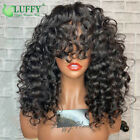 Bouncy Curly Scalp Top Machine Made Wigs Scalp Base Curly Human Hair With Bangs