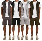 Mens Tracksuit Shorts and Hooded Bikers Gilet Set New Sports Workout Summer Gym